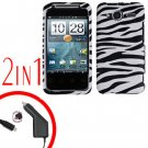 For HTC Evo Shift 4G Car Charger +Cover Hard Case C-Zebra 2-in-1