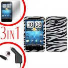 For HTC Inspire 4G Car Charger +Cover Hard Case Zebra +Screen 3-in-1