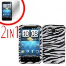 For HTC Inspire 4G Cover Hard Case Zebra + Screen Protector 2-in-1