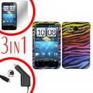 For HTC Desire HD Car Charger +Cover Hard Case C-Zebra +Screen 3-in-1