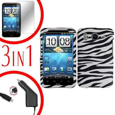 For HTC Desire HD Car Charger +Cover Hard Case Zebra +Screen 3-in-1