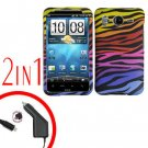 For HTC Desire HD Car Charger +Cover Hard Case C-Zebra 2-in-1