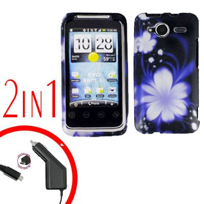 For HTC Evo Shift 4G Car Charger +Cover Hard Case B-Flower 2-in-1