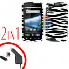 For Motorola Atrix 4G MB860 Car Charger +Cover Hard Case Zebra 2-in-1