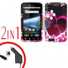 For Motorola Atrix 4G MB860 Car Charger +Cover Hard Case Love 2-in-1