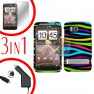 For HTC ThunderBolt  Car Charger +Cover Hard Case Rainbow 3-in-1