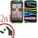 For HTC ThunderBolt Car Charger +Cover Hard Case Rainbow 2-in-1