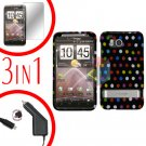 For HTC ThunderBolt  Car Charger +Cover Hard Case R-Dot 3-in-1