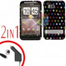 For HTC ThunderBolt Car Charger +Cover Hard Case R-Dot 2-in-1
