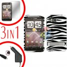 For HTC ThunderBolt  Car Charger +Cover Hard Case Zebra 3-in-1