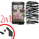 For HTC ThunderBolt Car Charger +Cover Hard Case Zebra 2-in-1