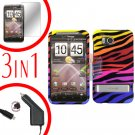For HTC ThunderBolt  Car Charger +Cover Hard Case C-Zebra 3-in-1