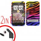 For HTC ThunderBolt Car Charger +Cover Hard Case C-Zebra 2-in-1