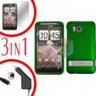 For HTC ThunderBolt Car Charger +Cover Hard Case Rubberized Green +Screen 3-in-1