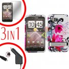 For HTC ThunderBolt  Car Charger +Cover Hard Case W-Flower 3-in-1