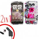 For HTC ThunderBolt Car Charger +Cover Hard Case W-Flower 2-in-1