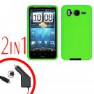 For HTC Inspire 4G Car Charger +Cover Silicon Case Neon Green 2 in 1