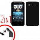 For HTC Inspire 4G Car Charger +Cover Silicon Case Black 2 in 1