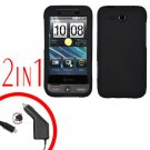 For HTC Freestyle Car Charger +Cover Hard Case Black 2-in-1