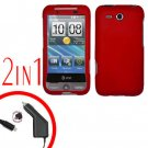 For HTC Freestyle Car Charger +Cover Hard Case Red 2-in-1