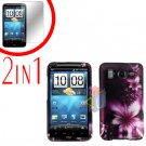 For HTC Inspire 4G Cover Hard Case L-Flower + Screen Protector 2-in-1