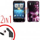 For HTC Inspire 4G Car Charger +Cover Hard Case L-Flower 2-in-1