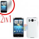 For HTC Inspire 4G Cover Hard Case White + Screen Protector 2-in-1