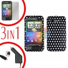 For HTC Incredible S Car Charger +Cover Hard Case Polka Dot +Screen 3-in-1