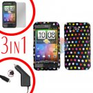 For HTC Incredible S Car Charger +Cover Hard Case R-Dot +Screen 3-in-1