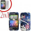 For HTC Incredible S Cover Hard Case G-Flower + Screen Protector 2-in-1