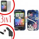 For HTC Incredible S Car Charger +Cover Hard Case G-Flower +Screen 3-in-1