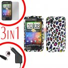 For HTC Incredible S Car Charger +Cover Hard Case R-Leopard +Screen 3-in-1