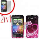 For HTC Incredible S Cover Hard Case Love + Screen Protector 2-in-1