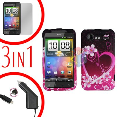For HTC Incredible S Car Charger +Cover Hard Case Love +Screen 3-in-1