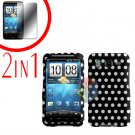 For HTC Inspire 4G Cover Hard Case Polka Dot + Screen Protector 2-in-1
