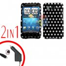For HTC Inspire 4G Car Charger +Cover Hard Case Polka Dot 2-in-1