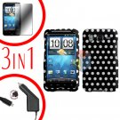 For HTC Inspire 4G Car Charger +Cover Hard Case Polka Dot +Screen 3-in-1