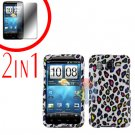For HTC Inspire 4G Cover Hard Case R-Leopard + Screen Protector 2-in-1