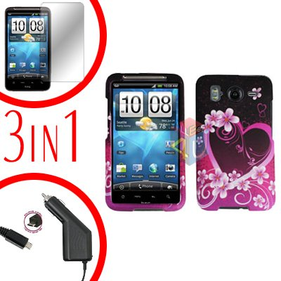 For HTC Inspire 4G Car Charger +Cover Hard Case Love +Screen 3-in-1