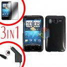 For HTC Inspire 4G Car Charger +Cover Hard Case Carbon Fiber +Screen 3-in-1