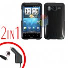 For HTC Desire HD Car Charger +Cover Hard Case Carbon Fiber 2-in-1