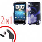 For HTC Desire HD Car Charger +Cover Hard Case B-Flower 2-in-1