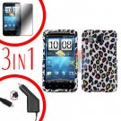 For HTC Desire HD Car Charger +Cover Hard Case R-Leopard +Screen 3-in-1