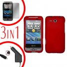 For HTC Freestyle Car Charger +Cover Hard Case Red +Screen 3-in-1