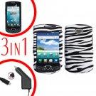 For Samsung Gem i100 Car Charger +Hard Case Zebra +Screen Protector