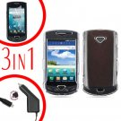 For Samsung Gem i100 Car Charger +Hard Case Clear +Screen Protector