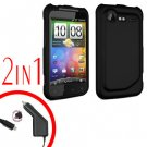 For HTC Incredible S Car Charger +Cover Hard Case Black 2-in-1