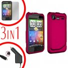 For HTC Incredible S Car Charger +Cover Hard Case R-Pink +Screen 3-in-1