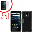For LG T-Mobile G2x Cover Hard Case Rubberized Black +Screen 2-in-1