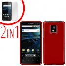 For LG T-Mobile G2x Cover Hard Case Rubberized Red +Screen 2-in-1